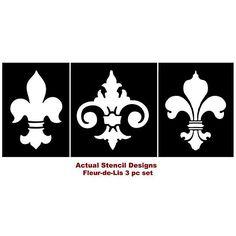 Cutting Edge Stencils - Fleur-De-Lis Stencils, 3pc kit