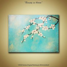 Original Modern Contemporary Acrylic painting of blossom flowers on tree branch. Shades of teal, ivory and gold home decor!