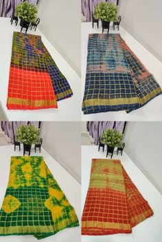 Buy latest Pure Georgette Checks Sarees With Blouse 8897195985 | #siridesigners #georgettesaree #georgettesarees Checks Saree, Georgette Sarees, Shibori, Picnic Blanket, Kids Rugs, Pure Products, Blouse, Earrings, Stuff To Buy