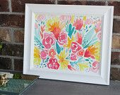 11x14 original watercolor modern flowers bright and colorful