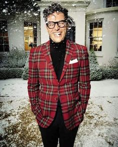 Gentleman's style | Very Nice Outfit for the Holidays | Men's Fashion & Style | Red Plaid Sport Jacket, Black Pants and Turtleneck Sweater | Menswear | Moda Masculina | Shop at designerclothingfans.com