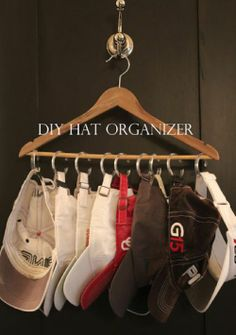 Good way to hang ball caps - shower rings on a hanger