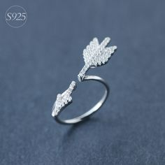 USD8.6-Cupid's Arrow 925-sterling-silver Open Full Pave Rhinestone Ring for Women   Korean Fashion Super Star Sterling-silver-jewelry