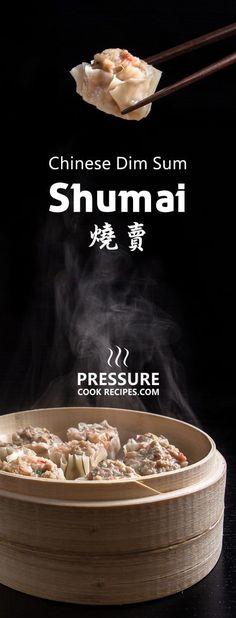 Make this Chinese dim sum Shumai Recipe (燒賣, Siu Mai, Shaomai, or Siomai). Flavorful Pork Dumplings with crunchy shrimps, bouncy pork & fragrant mushrooms. Great make ahead freezer meals! via @pressurecookrec