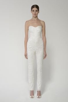 """""""Paige"""" Strapless Chantilly Lace Jumpsuit Worn by Santana during the reception in Glee's """"A Wedding"""" episode. #glee #wedding"""