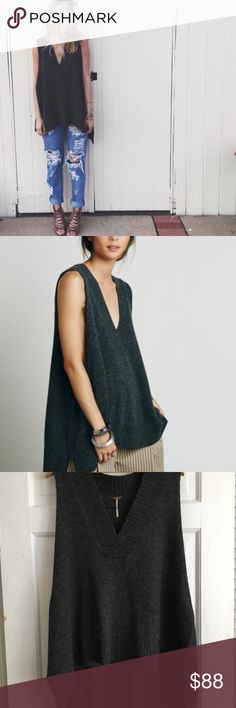 Free People Lambswool Swing Vest. XS. Oversized Beautiful FP oversized vest. Perfect for the upcoming Fall season. Sold out!! Pre-owned but in perfect condition. XS- but oversized with very large arm holes, so could be worn by a bigger size.   As said on the FP website- In a swingy, oversized silhouette this V-Neck sweater vest features extreme dropped armholes and side vents. High low hem and ribbed trim.  **Check out my other listings as well. Lots of Free People! Will discount for…