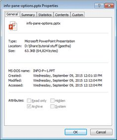 Advanced #Presentation Properties in #PowerPoint 2013 for #Windows