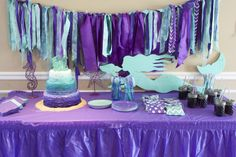 39 Ideas Baby Shower Themes For Girls Purple Mermaid Birthday Mermaid Theme Birthday, Purple Birthday, Purple Party, 1st Birthdays, 1st Birthday Parties, Birthday Ideas, 25th Birthday, Happy Birthday, Girl Birthday Decorations