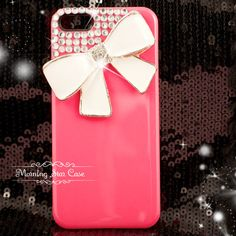 iPhone 5 Case - Bling iPhone Case, Crystal iPhone Case, iPhone Cover, Pink Bow iPhone Case, cute iPhone 5 bling case. $16.99, via Etsy.