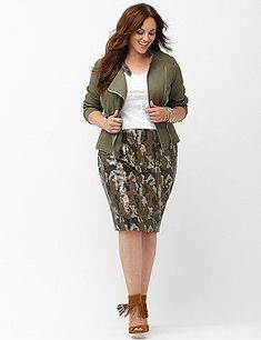 Plus Size Camo Sequin Pencil Skirt i really love the color, the print, and the jacket Trendy Plus Size Clothing, Plus Size Fashion For Women, Plus Size Women, Plus Size Outfits, Sequin Pencil Skirt, Pencil Skirt Outfits, Camo Skirt, Mode Plus, Curvy Girl Fashion