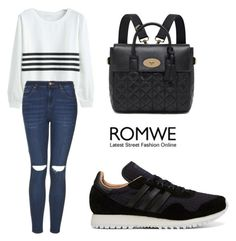 """ROMWE White Sweatshirt"" by tania-alves ❤ liked on Polyvore featuring mode, adidas, Topshop et Mulberry"