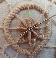 PIZZO MACRAME' RUMENO - POINT LACE : New! Spiegazione punto: ruota. Irish Crochet Patterns, Crochet Motifs, Form Crochet, Hand Embroidery Patterns, Lace Patterns, Crochet Lace, Embroidery Stitches, Hungarian Embroidery, Hardanger Embroidery