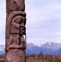 detail of weeping woman pole carved by gitxsan artist walter harris