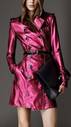 Burberry Metallic Leather Trench Coat