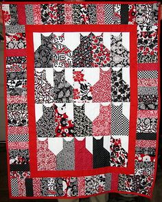 Handmade Classic Black & White & Red Cats Kitty Cat Lap Quilt Throw CAT RESCUE   eBay
