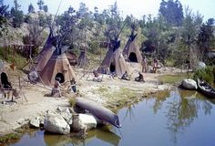 Indian Teepees - Disneyland 1950s-1970s     Frontierland, Disneyland Park, Disneyland Resort  Anaheim, California  It's so LUSH now after all these years.