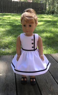 18 doll vintage inspired white dress with black trim