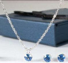 Amazon.com: Sterling Silver Swarovski Crystal Blue Sapphire Necklace & Earring Set, Gift-Boxed: Jewelry