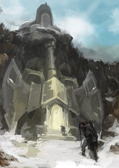 Gates to an subterranean complex, amidst the lands of winter by ~MerrymindAndStivka on deviantART
