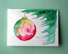 Ornamento di Natale carta acquerello, (No.215), saluto ornamento di carta, Natale, vacanze, arte originale, interno bianco