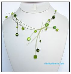 lime green square beads necklace bridesmaids by creationtwinne, $49.50