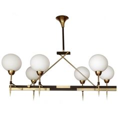 Very Large Linear Maison Arlus Glass Globes Chandelier Brass French Modernist