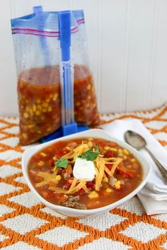 Instant Pot Taco Soup | recipe from Once a Month Meals