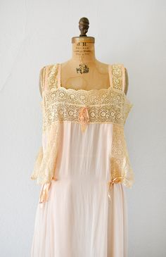 vintage 1920s pink silk nightgown with ecru lace panels