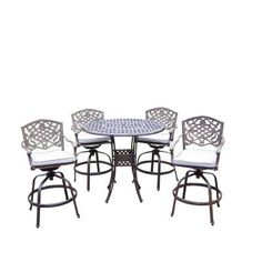 Oakland Living Elite Mississippi 5 Piece Swivel Patio Bar Set With Solid Cushions