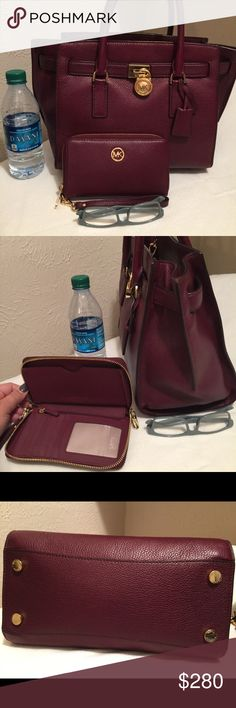MK Hamilton set Mint condition set in burgundy of soft pebble leather.  Purchased bag from previous Posher - sadly too small for all my work necessities.  Wallet/wristlet is large enough to fit iPhone 6+ and also in mint condition. Michael Kors Bags Satchels