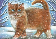Orange Tabby Kitten Winter Painting