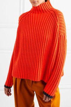 Victoria, Victoria Beckham - Ribbed Wool-blend Turtleneck Sweater - Bright orange