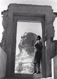 "Oum Kalthoum and the sphinx. She was an internationally famous Egyptian singer, songwriter, and film actress of the 1930s to the 1970s. She is known as Kawkab al-Sharq كوكب الشرق (""Star of the East"") in Arabic. More than three decades after her death in 1975, she is still widely regarded as the greatest female Arabic singer in history."