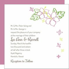 Tropical Flower Square Wedding Invitations for a beach, tropical or destination wedding. - Beach Front Occasions, www.beachfrontoccasions.com
