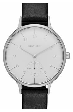 Skagen 'Anita' Leather Strap Watch, 34mm