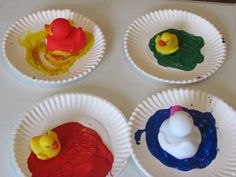 Duck and Goose lesson for preschool- painting with ducks, then washing them!