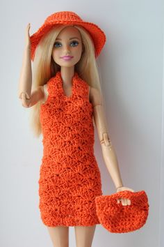 Barbie in Orange Crocheted Ensemble