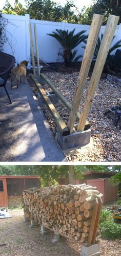 You want to build a outdoor firewood rack? Here is a some firewood storage and creative firewood rack ideas for outdoors. Lots of great building tutorials and DIY-friendly inspirations! Outdoor Firewood Rack, Firewood Shed, Firewood Storage, Outdoor Storage, Firewood Holder, Diy Fire Pit, Diy Holz, Outdoor Living, Outdoor Decor
