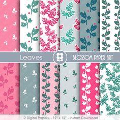 Digital Paper, Pink and Blue Digital Paper Pack, Scrapbooking, Leaves Digital Paper Pack,  digital backgrounds, Floral, Damask Papers -1683