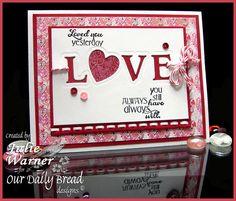 Valentine card, die cut LOVE -ODBD dies & papers