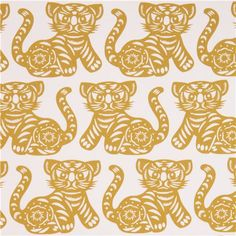 off-white-chartreuse Growl tiger animal fabric Citron by Michael Miller 1