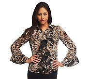 """Mark of Style"" by Mark Zunino Ruffle front printed blouse - QVC 44.50"