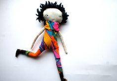 punky little lu doll black hair bright colourful jumpsuit awesomeness cloth doll rag doll handmade