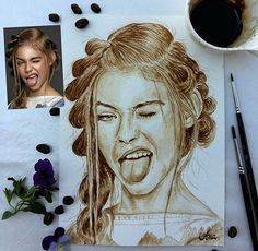 """""""Don't be too serious!"""" cute cheeky girl: Jade Weber painted with coffee from a photo by Robert Beczarski ========================== Kaffeemalerei ☆ coffee painting ========================== Minitopmodel, LA Modelyouth, fashiongirl, fashionmodel, Porträt, malen mit Kaffee Kaffeemalerei, Kaffeepinsel, portrait, coffeebrush, drawing, drawings, coffeepainting, supportart"""