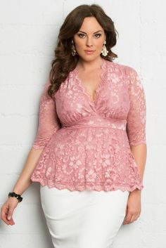 Perfect for any spring special event, our plus size Linden Lace Top in a pink rose color is the answer. Shop our entire made in the USA collection and see other style inspiration online at www.kiyonna.com.