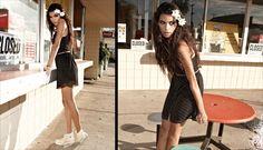 converse high-tops in cream + cute dress