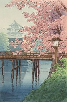 ITO, Yuhan (1882-1951). Castle and Cherry Blossoms. Original woodblock print, Japan, c.1930.