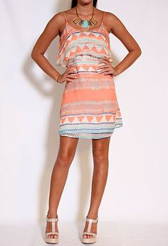 Mila Spaghetti Strap Aztec Print Silk Dress