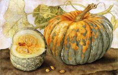 (Ms.) Giovanna Garzoni (Italian Baroque Era Painter, 1600-1670)  Still life with a melon