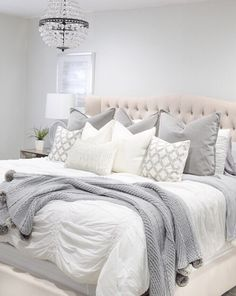 Excellent modern bedroom design , which will inspire you. Check out our latest and modern bedroom design, and bedroom ideas. Glam Bedroom, Bedroom Inspo, Bedroom Sets, Home Decor Bedroom, Modern Bedroom, Bedroom Furniture, Master Bedroom, Furniture Dolly, Grey Bedroom Set